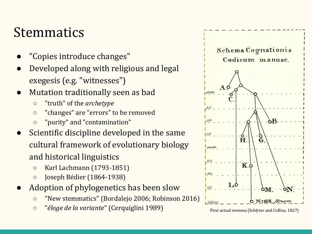 """Stemmatics ● """"Copies introduce changes"""" ● Devel..."""