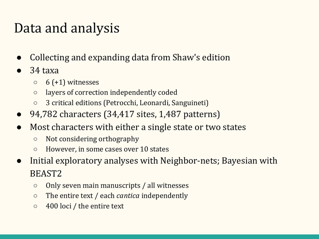 Data and analysis ● Collecting and expanding da...