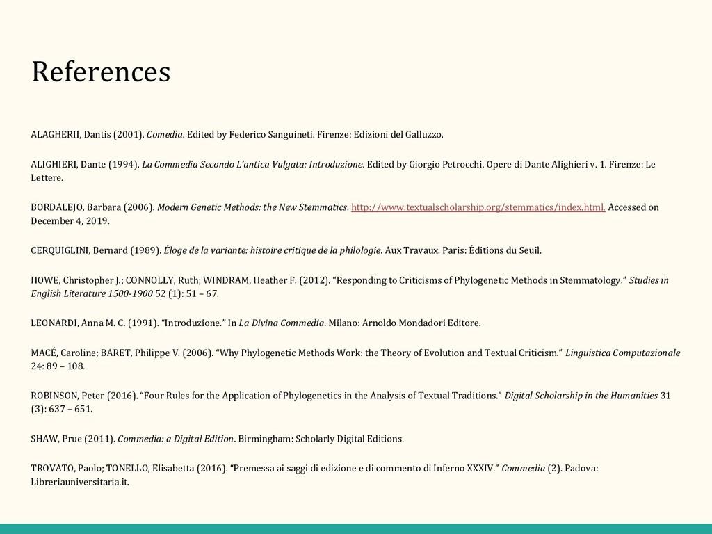 References ALAGHERII, Dantis (2001). Comedìa. E...