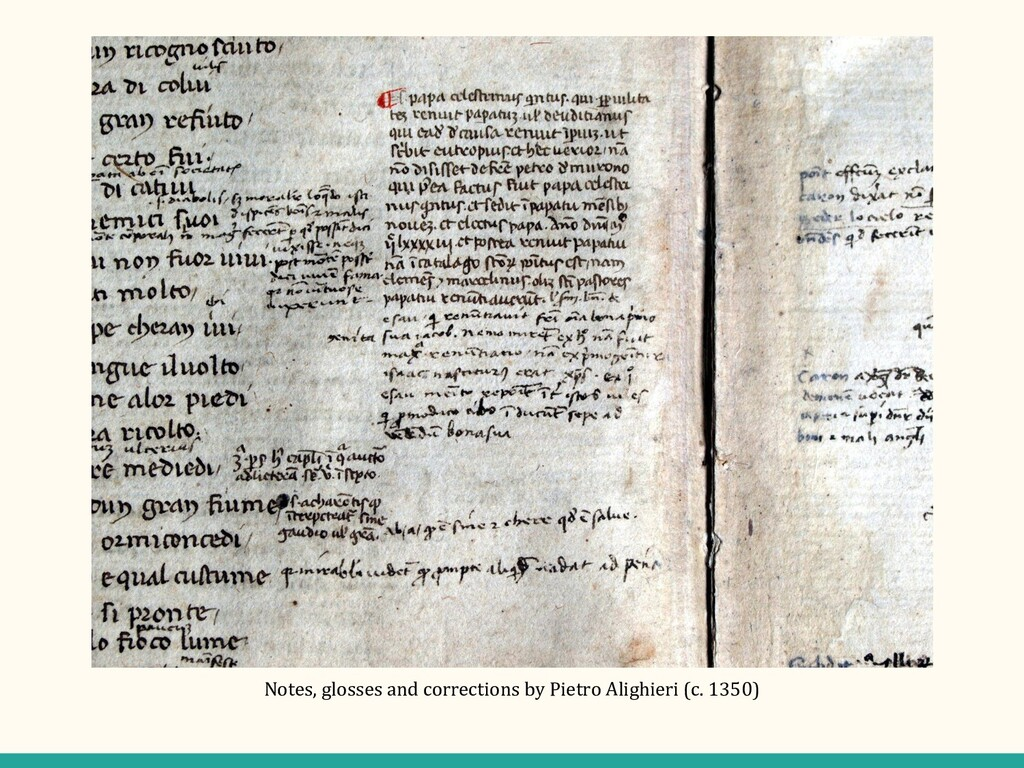 Notes, glosses and corrections by Pietro Alighi...