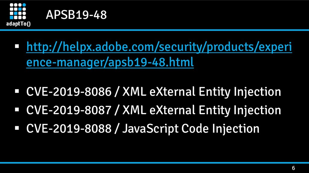 APSB19-48 6 ▪ http://helpx.adobe.com/security/p...