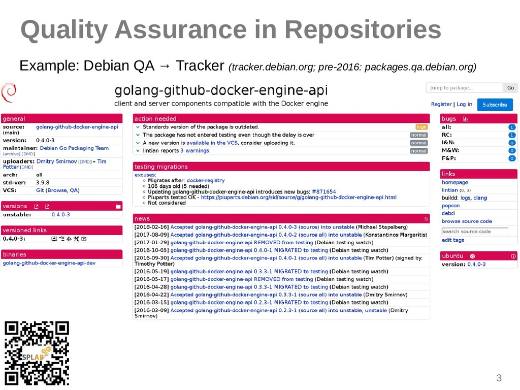3 Quality Assurance in Repositories Example: De...