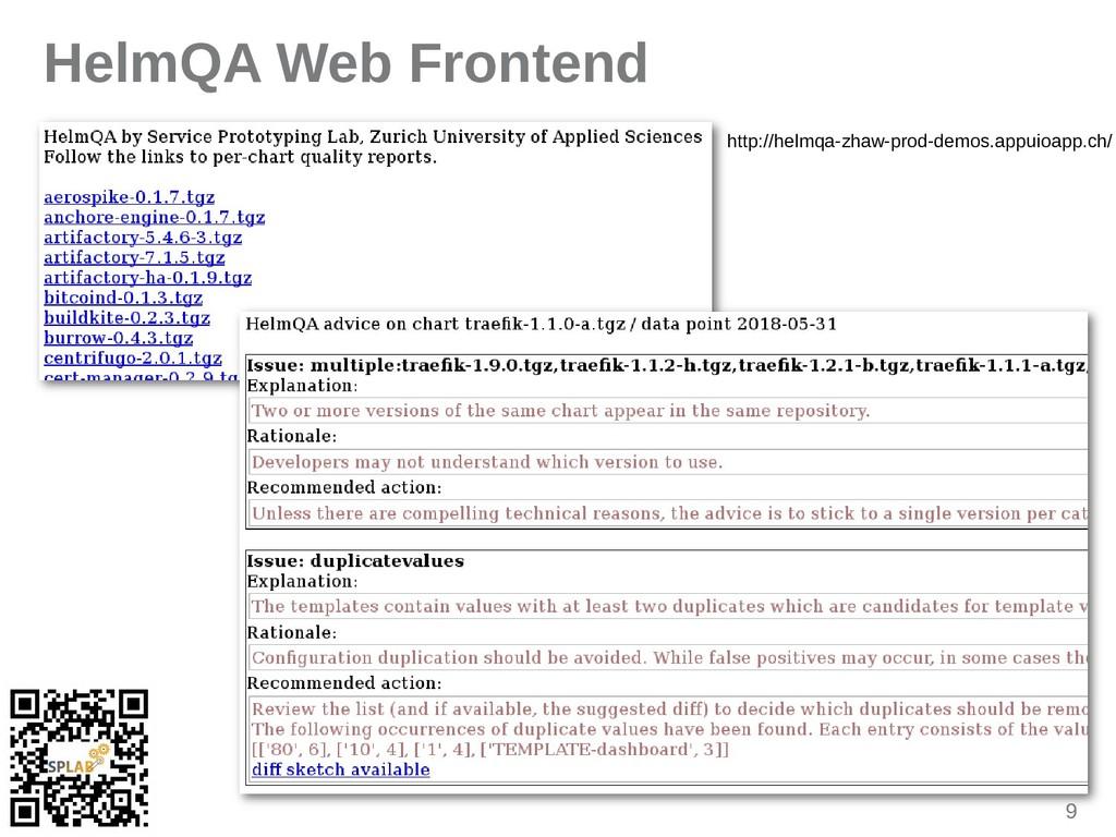 9 HelmQA Web Frontend http://helmqa-zhaw-prod-d...