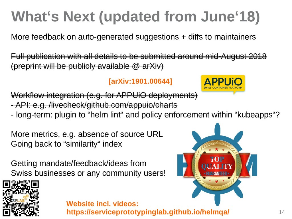 14 What's Next (updated from June'18) More feed...