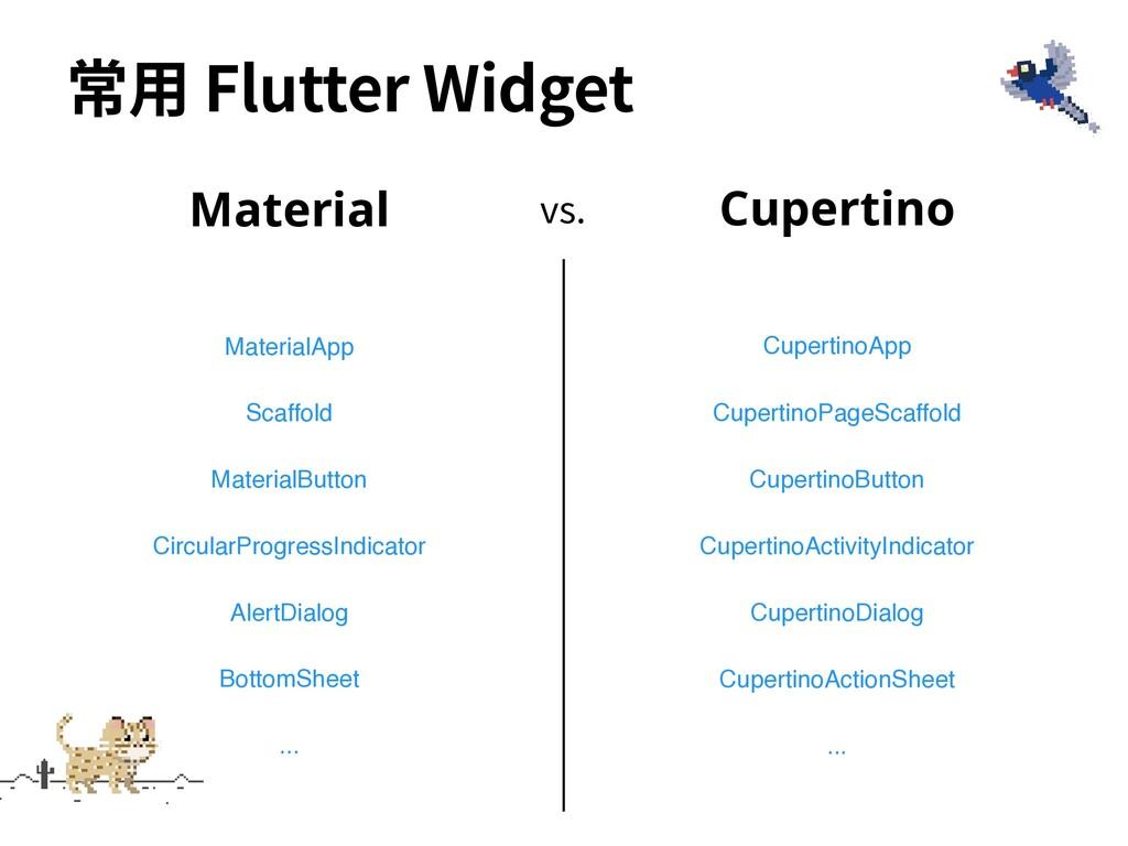 vs. ... 常⽤ Flutter Widget Material MaterialApp ...