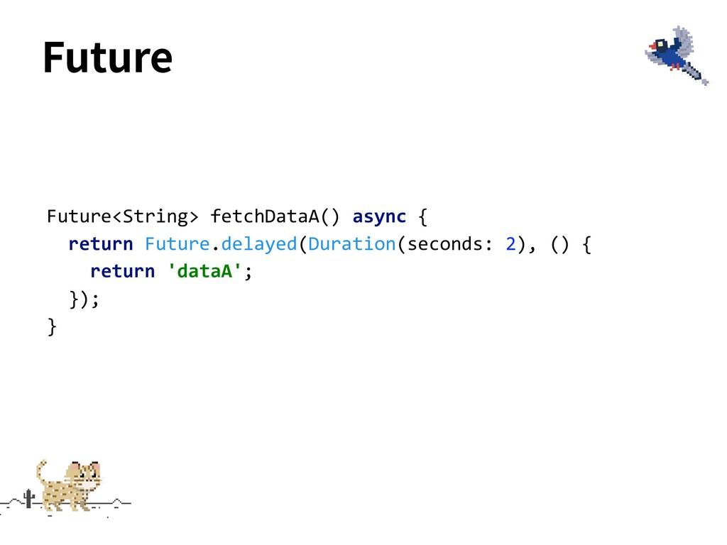 Future Future<String> fetchDataA() async { retu...