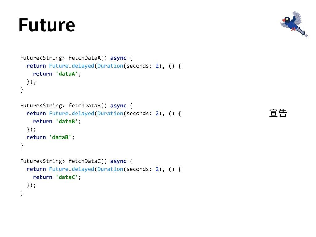 Future<String> fetchDataA() async { return Futu...