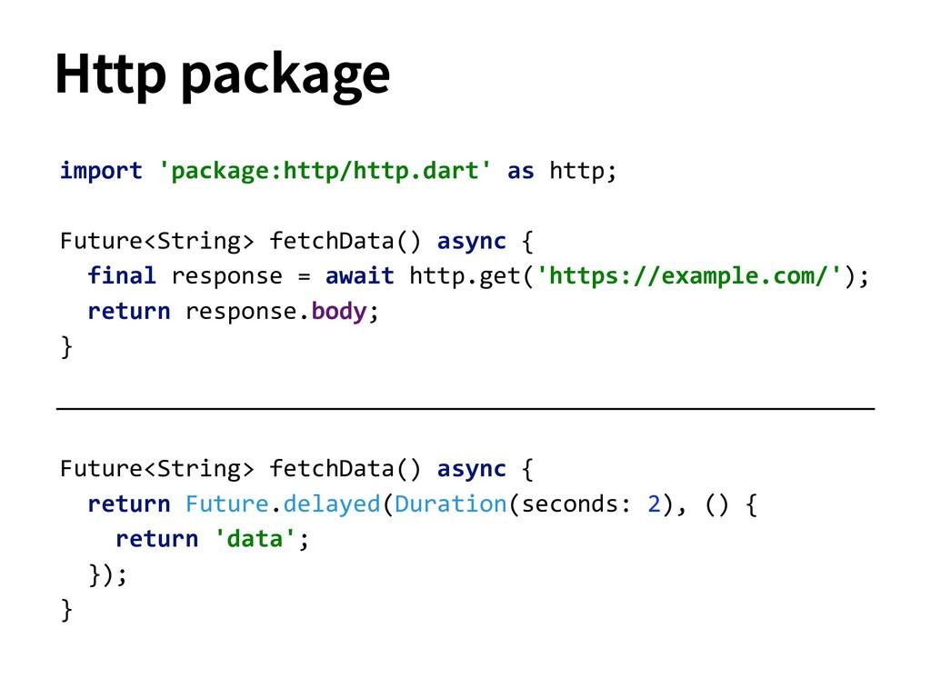 Future<String> fetchData() async { return Futur...