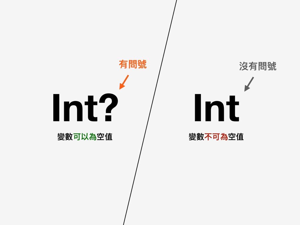 Int? Int 有問號 沒有問號 變數可以為空值 變數不可為空值