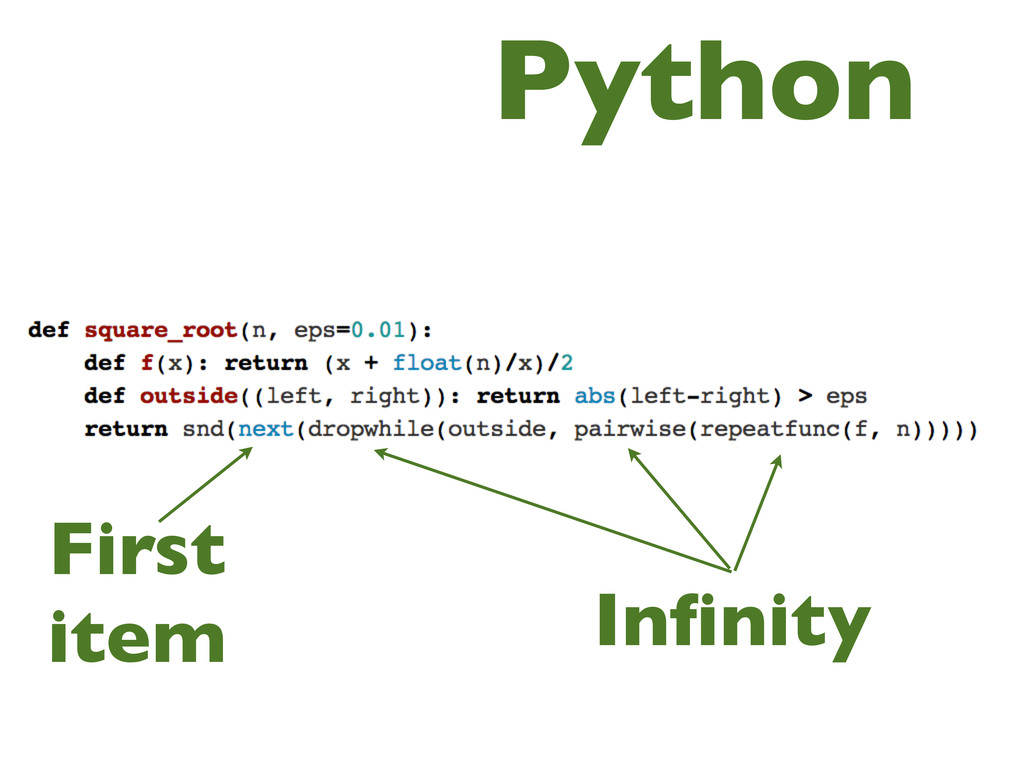 Python Infinity First item