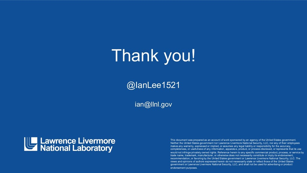 Thank you! @IanLee1521 ian@llnl.gov This docume...