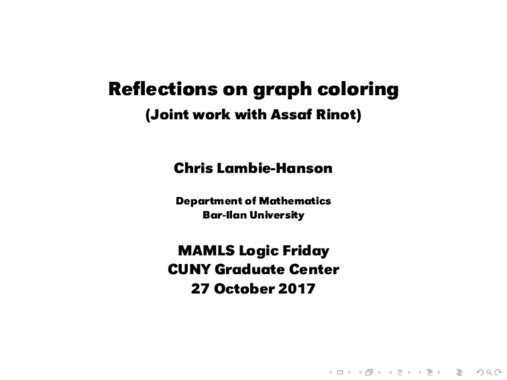 Reflections on graph coloring (Joint work with A...