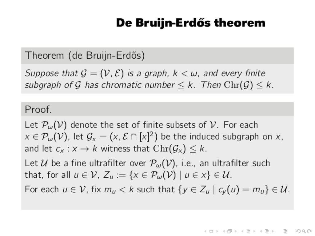 De Bruijn-Erd˝ os theorem Theorem (de Bruijn-Er...