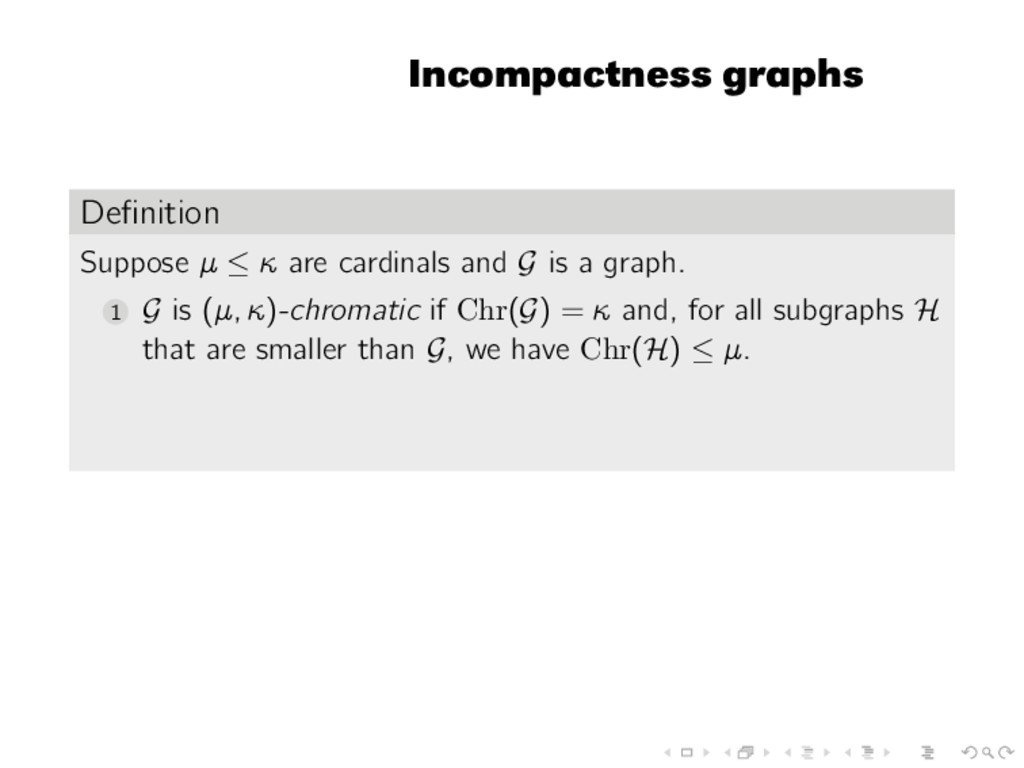 Incompactness graphs Definition Suppose µ ≤ κ ar...