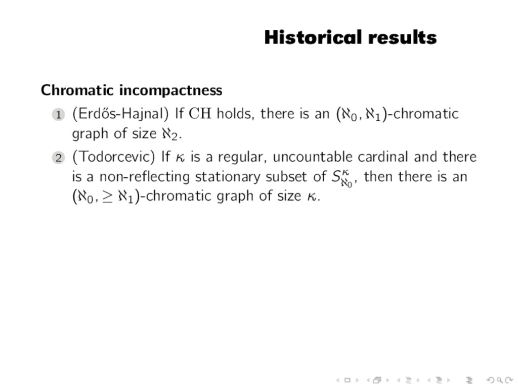 Historical results Chromatic incompactness 1 (E...