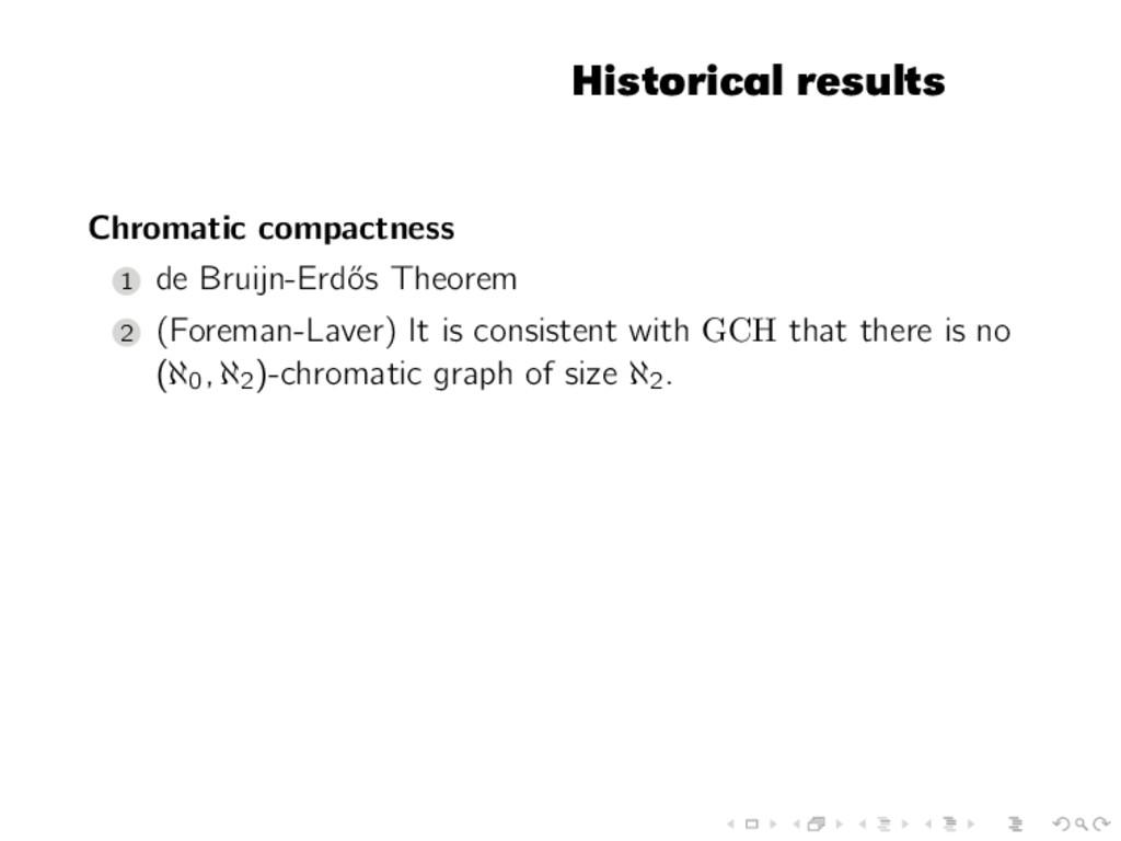 Historical results Chromatic compactness 1 de B...