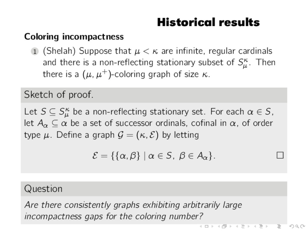 Historical results Coloring incompactness 1 (Sh...