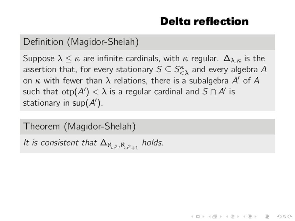 Delta reflection Definition (Magidor-Shelah) Supp...