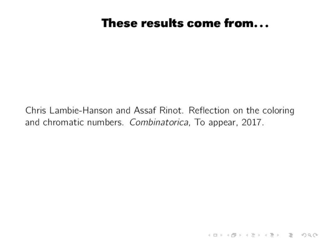 These results come from... Chris Lambie-Hanson ...