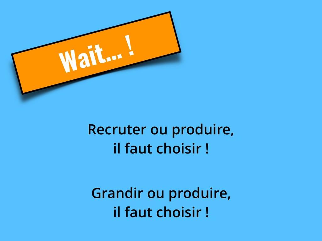 Wait… ! Recruter ou produire,  il faut choisir...