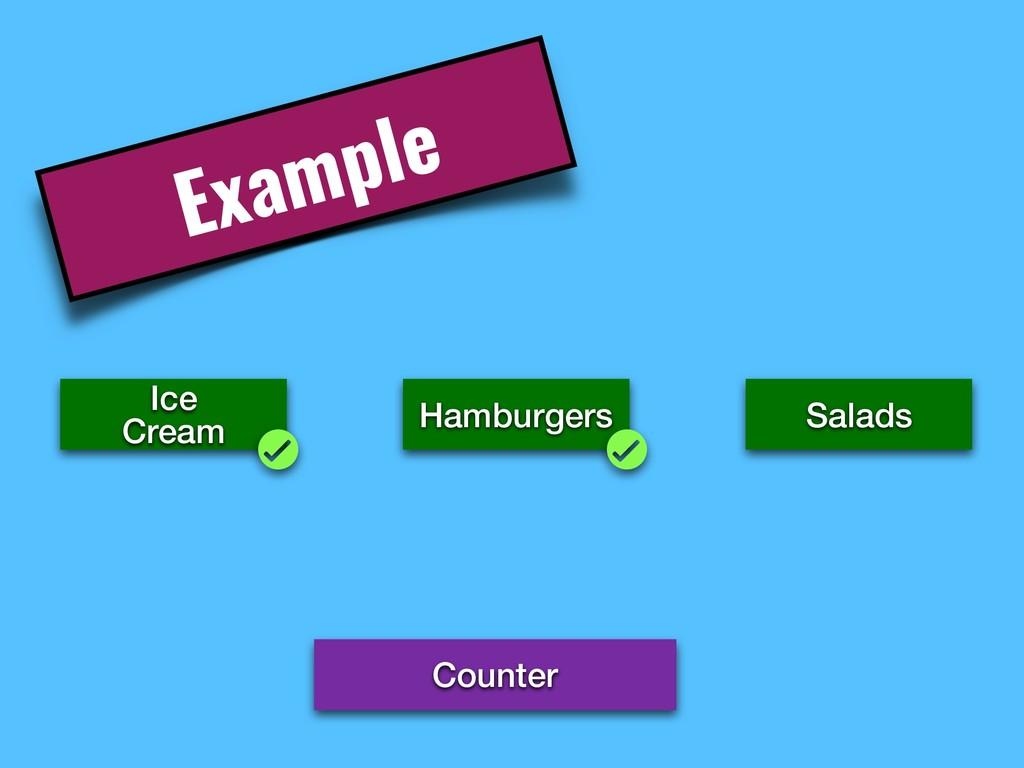 Example Counter Ice Cream Hamburgers Salads