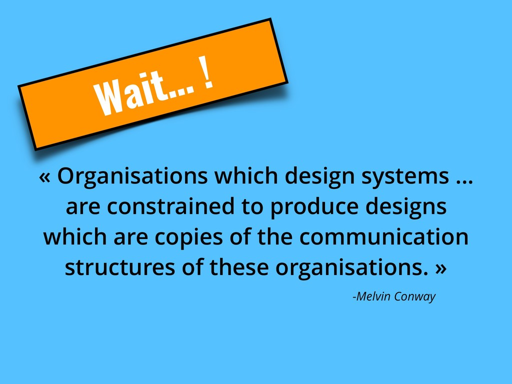 Wait… ! « Organisations which design systems .....
