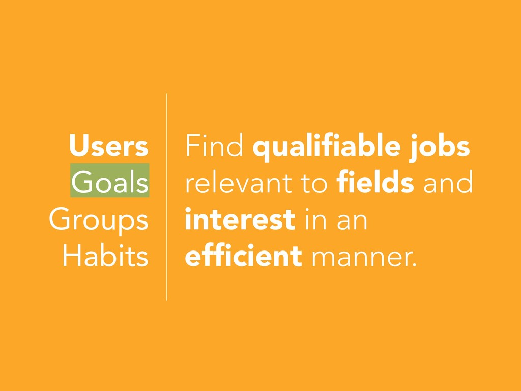 Users Goals Groups Habits Find qualifiable jobs...