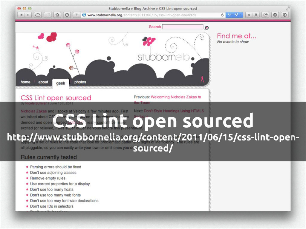 CSS Lint open sourced http://www.stubbornella.o...