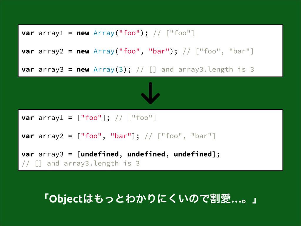 """var array1 = new Array(""""foo""""); // [""""foo""""] ! var..."""