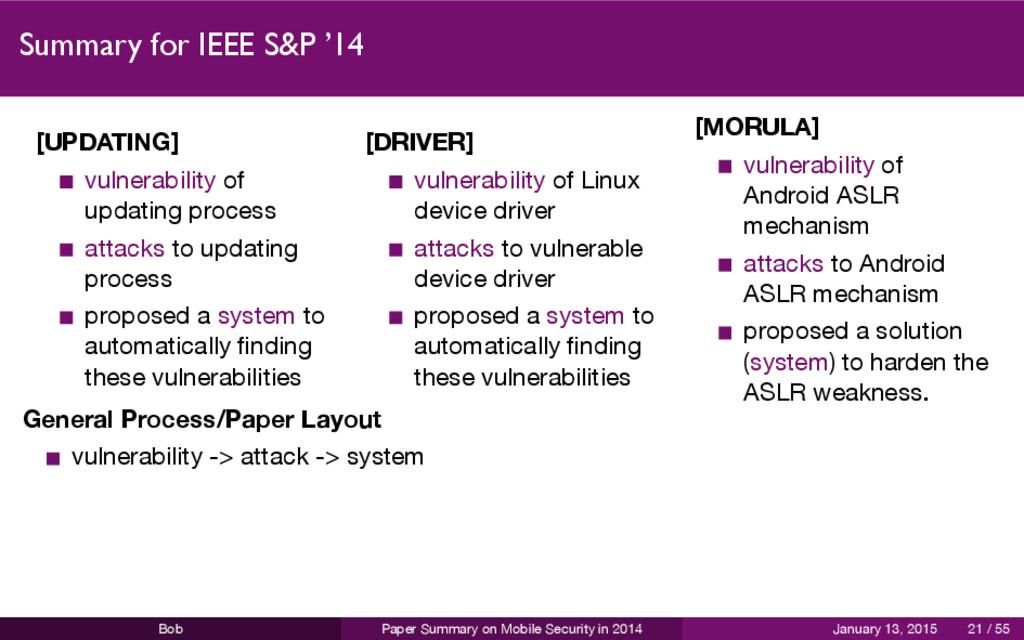 Summary for IEEE S&P '14 [UPDATING] vulnerabili...