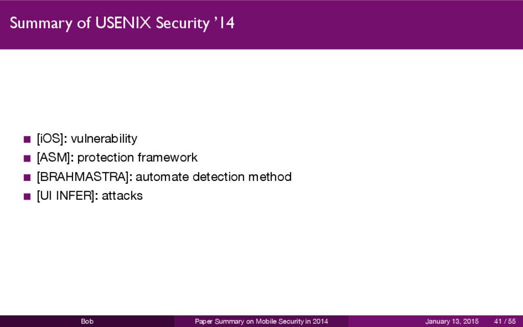 Summary of USENIX Security '14 [iOS]: vulnerabi...