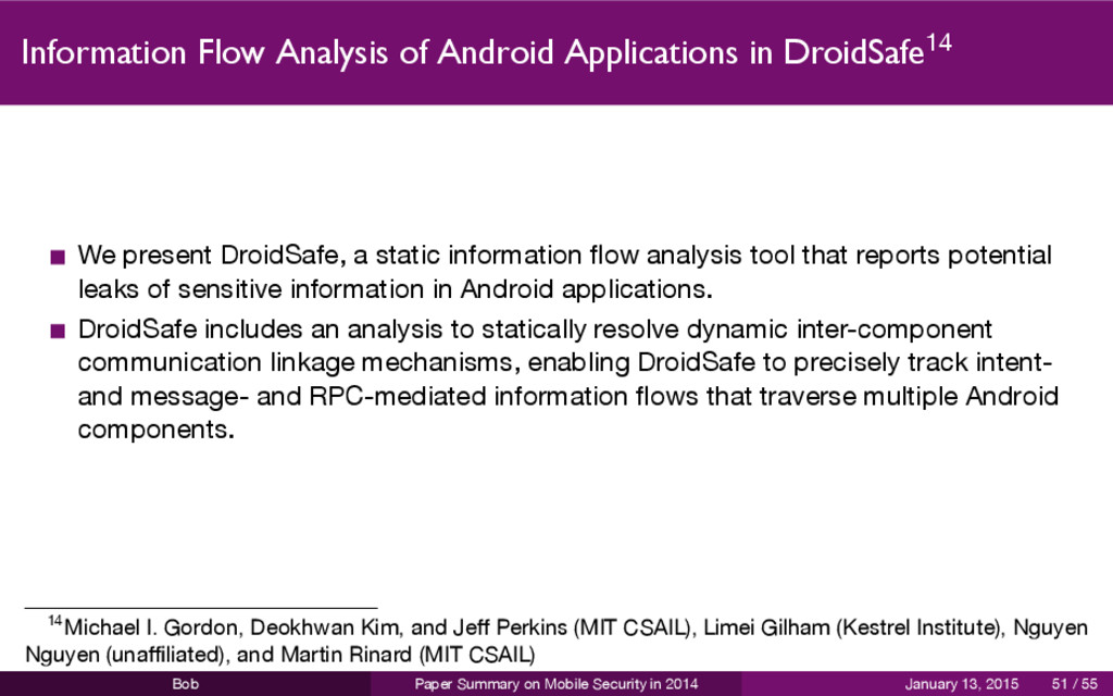 Information Flow Analysis of Android Applicatio...