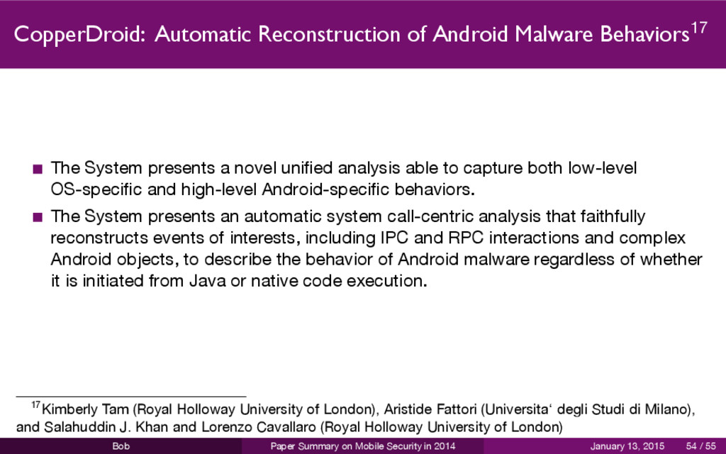 CopperDroid: Automatic Reconstruction of Androi...