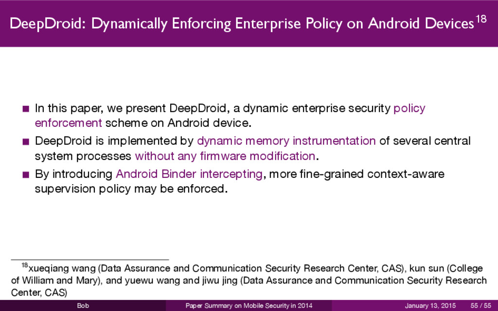 DeepDroid: Dynamically Enforcing Enterprise Pol...