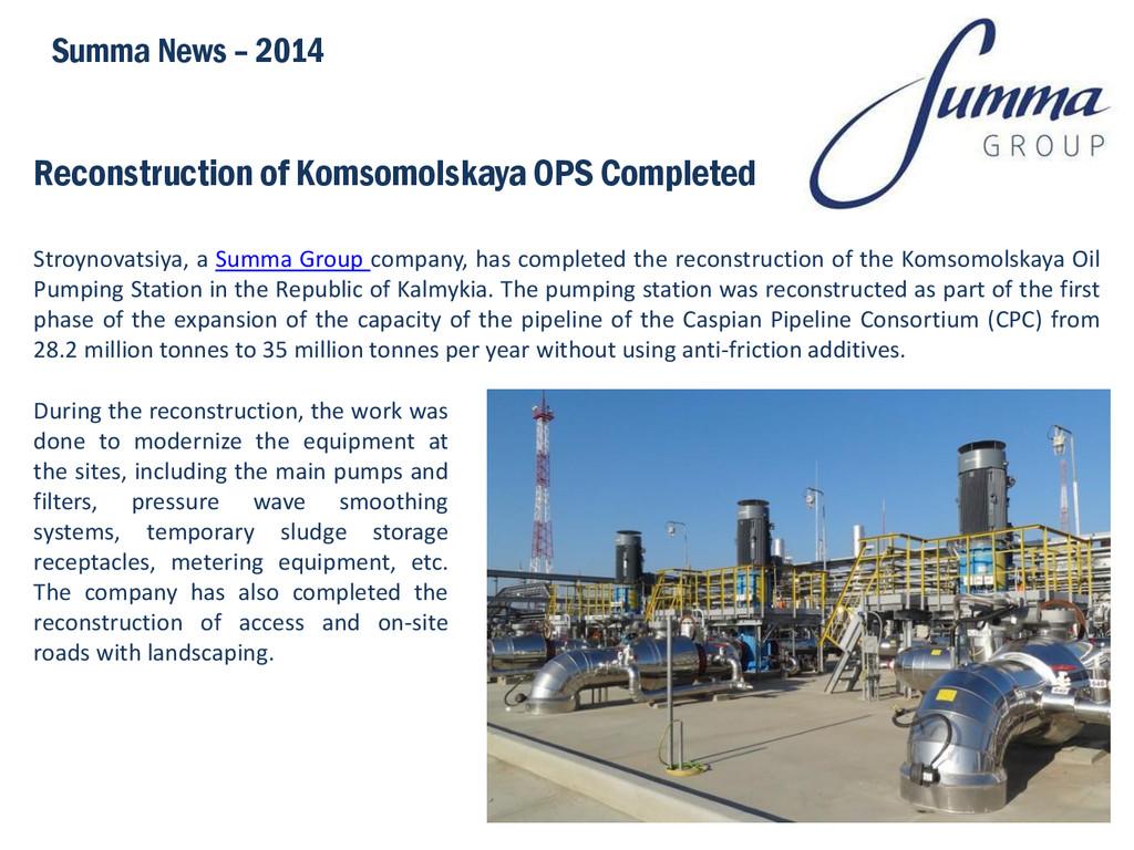 Reconstruction of Komsomolskaya OPS Completed S...