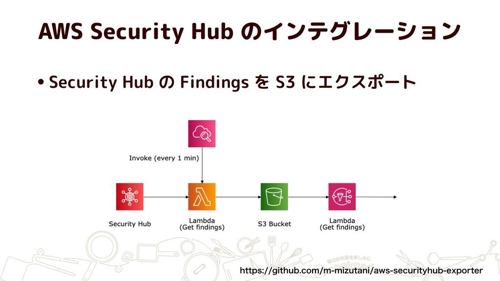 AWS Security Hub のインテグレーション •Security Hub の Fin...