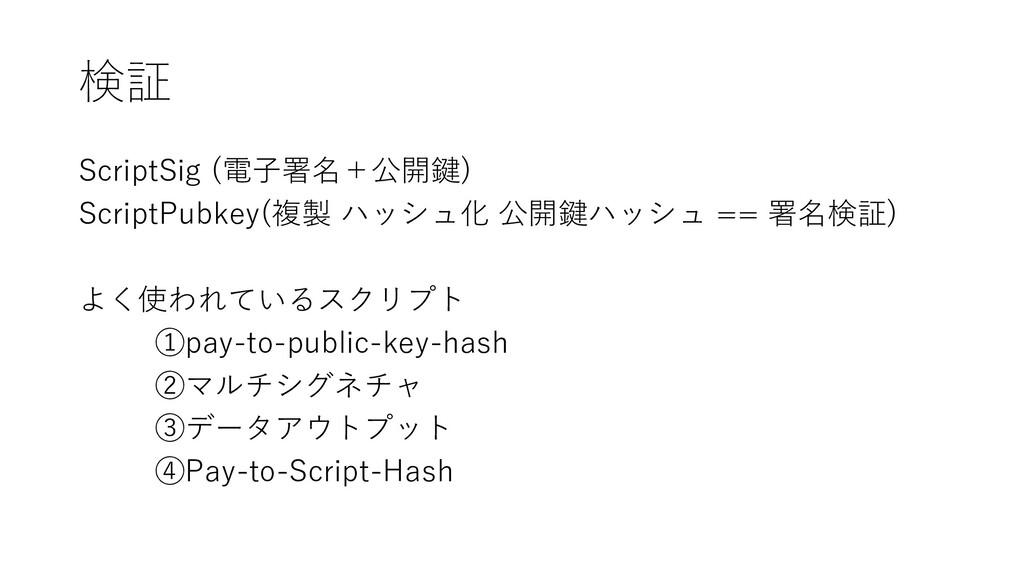 検証 ScriptSig (電子署名+公開鍵) ScriptPubkey(複製 ハッシュ化 公...
