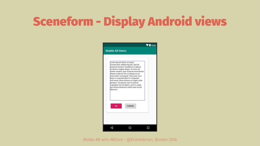 Sceneform - Display Android views Moble AR with...