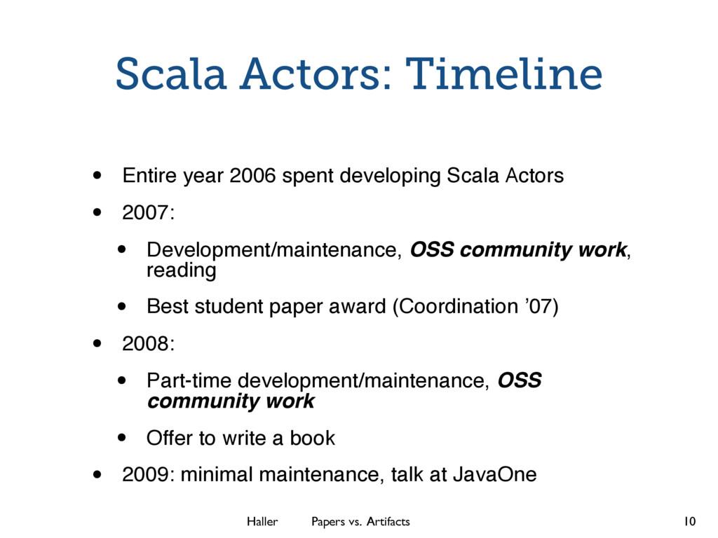 Haller Papers vs. Artifacts Scala Actors: Timel...