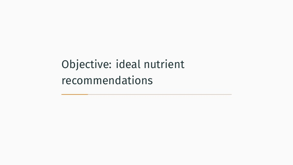 Objective: ideal nutrient recommendations