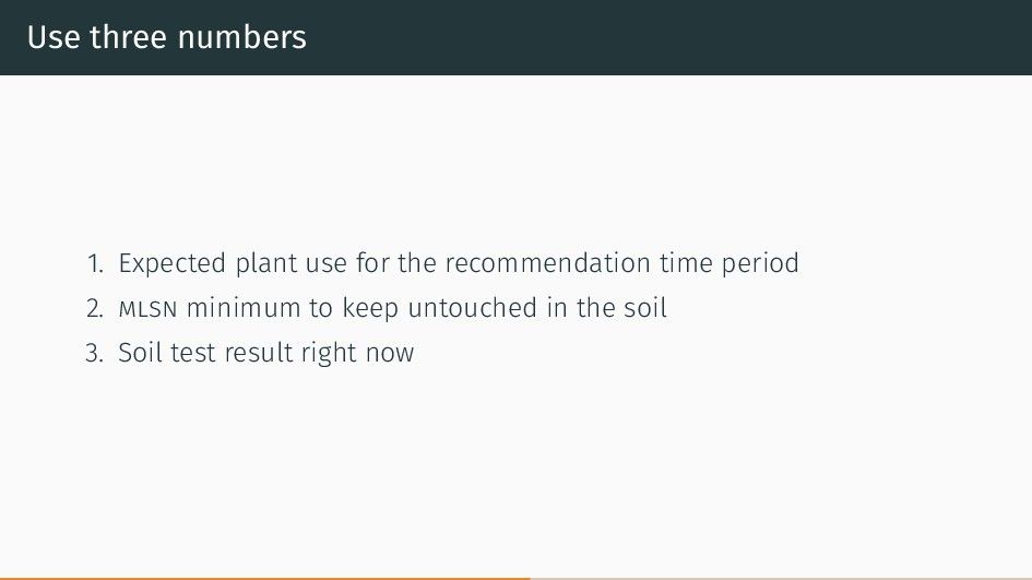 Use three numbers 1. Expected plant use for the...