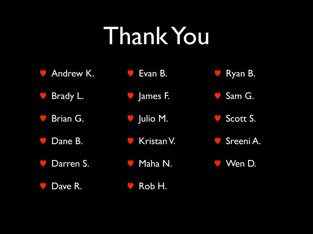 Thank You — Andrew K. — Brady L. — Brian G. — D...