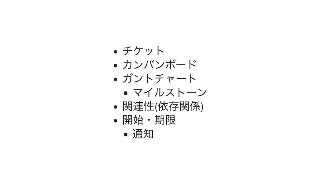 チケット カンバンボード ガントチャート マイルストーン 関連性( 依存関係) 開始・期限 通知