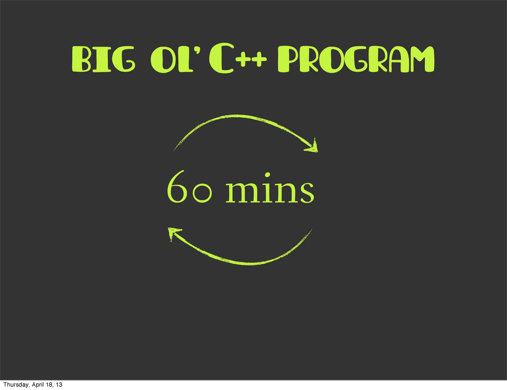 big ol' C++ program 60 mins Thursday, April 18,...