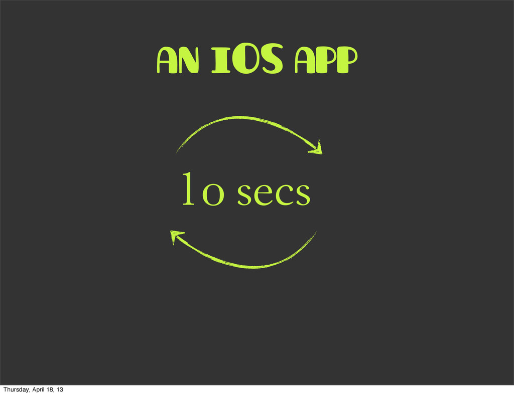 an iOS app 1o secs Thursday, April 18, 13