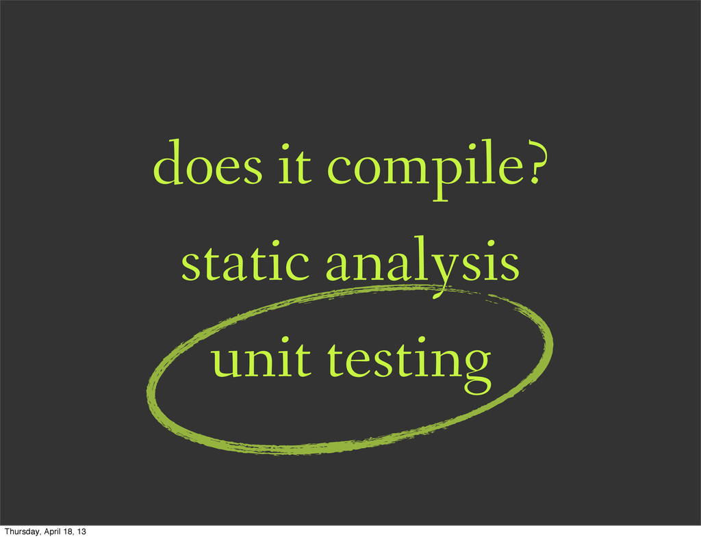 does it compile? static analysis unit testing T...