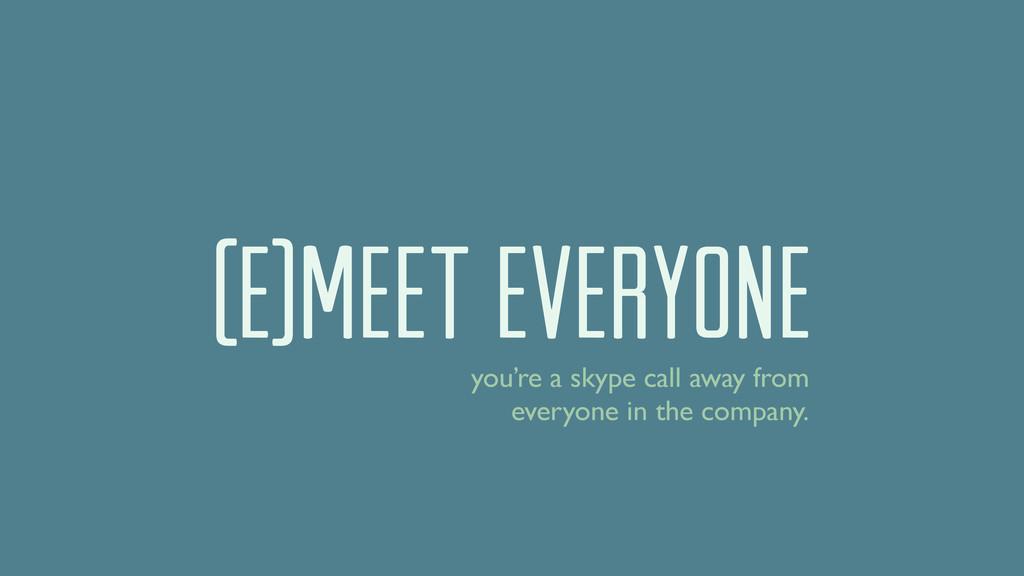 (E)MEET EVERYONE you're a skype call away from ...