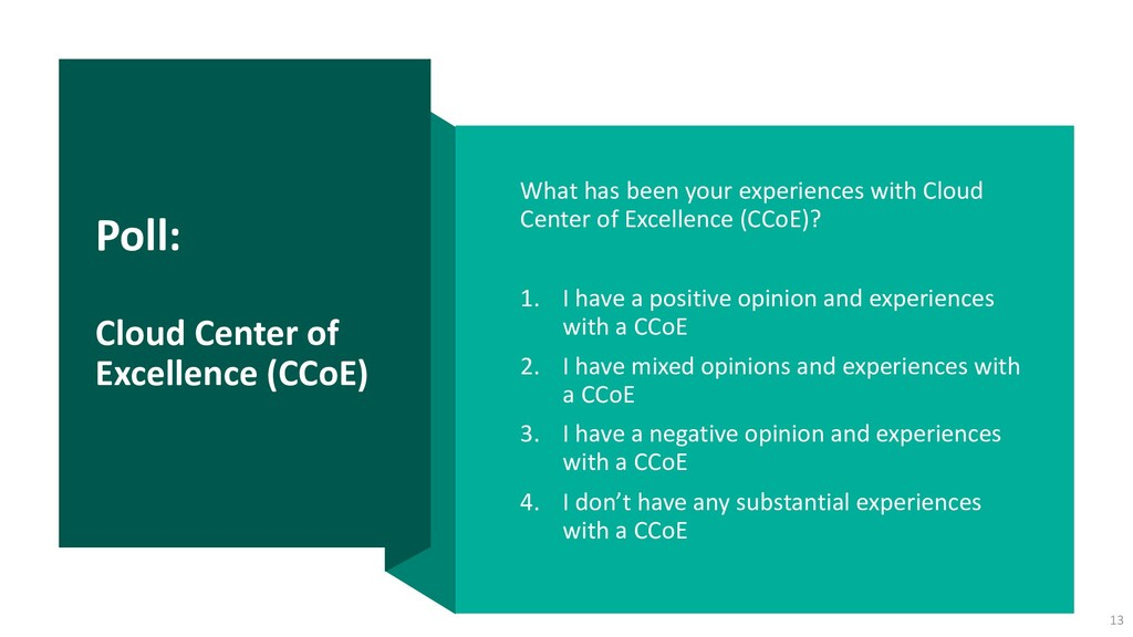 Poll: Cloud Center of Excellence (CCoE) What ha...