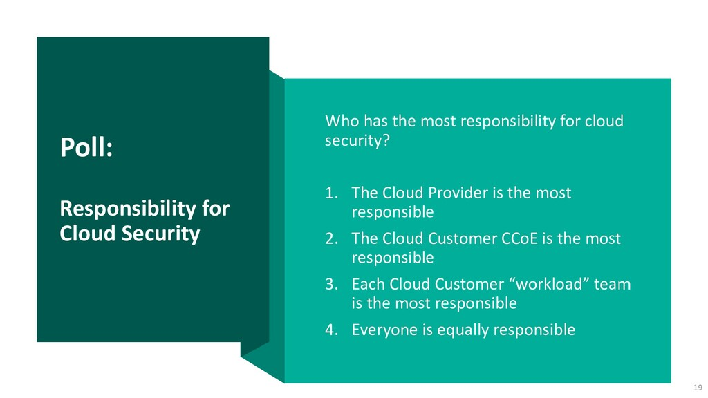 Poll: Responsibility for Cloud Security Who has...