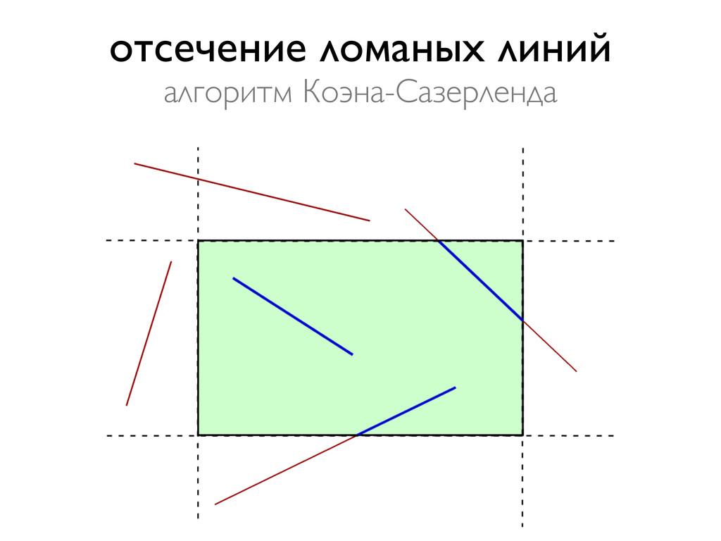 отсечение ломаных линий алгоритм Коэна-Сазерлен...